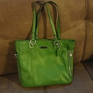"Green Coach ""Don't Judge Me"" tote"